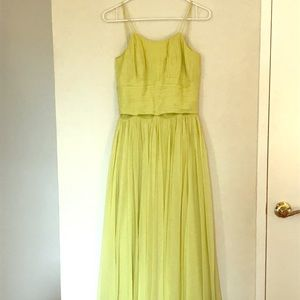 Vintage Chartreuse Two Piece Set Top Skirt Dress